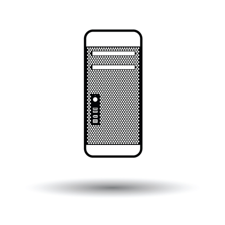storage unit: System unit icon. Black background with white. Vector illustration.