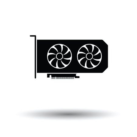 main part: GPU icon. Black background with white. Vector illustration. Illustration