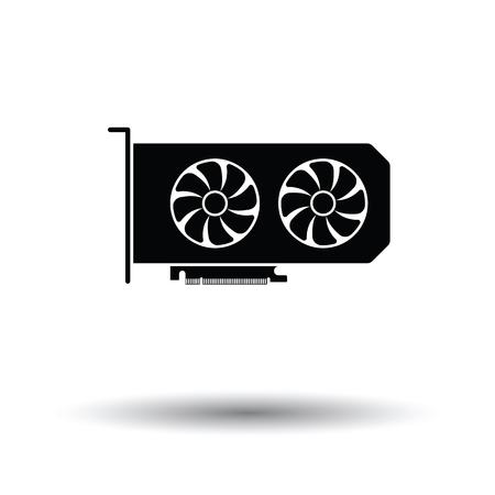 Icône GPU. Fond noir avec du blanc. Illustration vectorielle Vecteurs