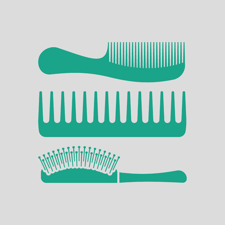 grey hair: Hairbrush icon. Gray background with green. Vector illustration.