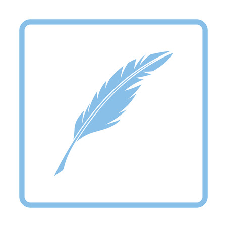 poet: Writing feather icon. Blue frame design. Vector illustration.