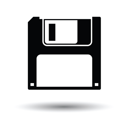 hard drive: Floppy icon. Black background with white. Vector illustration.