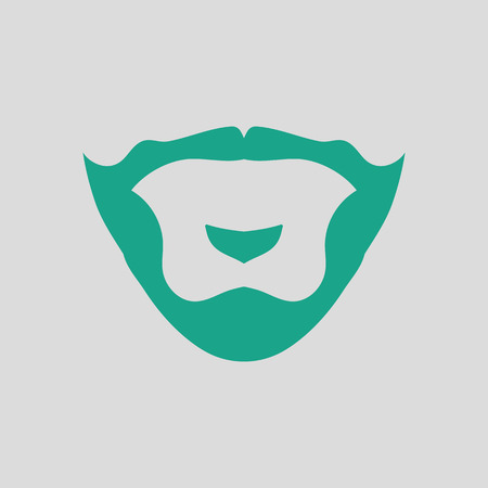 Goatee icon. Gray background with green. Vector illustration.
