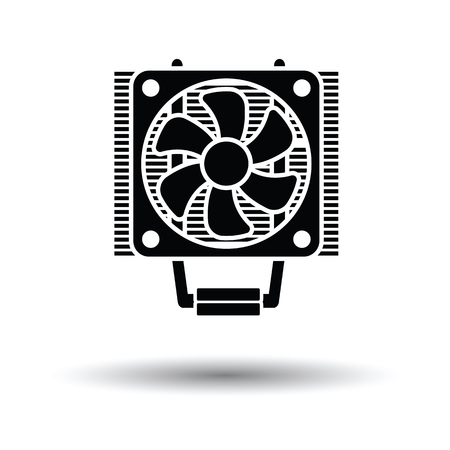 heat sink: CPU Fan icon. Black background with white. Vector illustration.