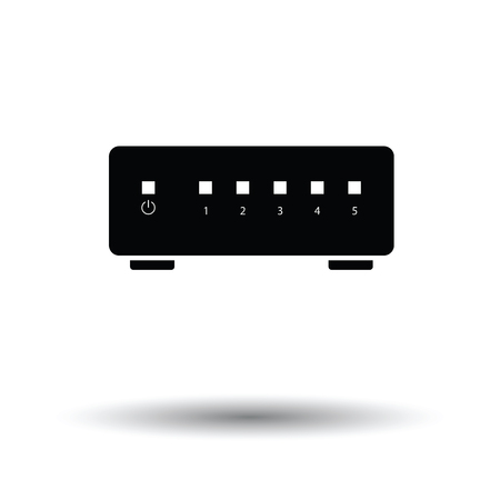 wireless lan: internet switch icon. Black background with white. Vector illustration. Illustration