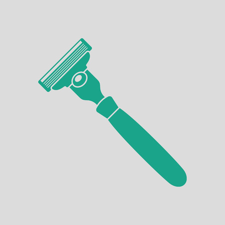 Safety razor icon. Gray background with green. Vector illustration. Illustration