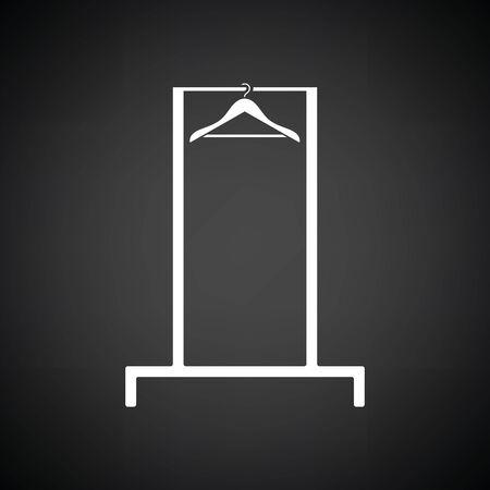 clothing rack: Hanger rail icon. Black background with white. Vector illustration.