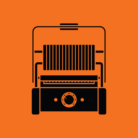 Kitchen electric grill icon. Orange background with black. Vector illustration. Illustration