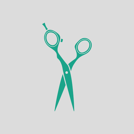 haircutting: Hair scissors icon. Gray background with green. Vector illustration.