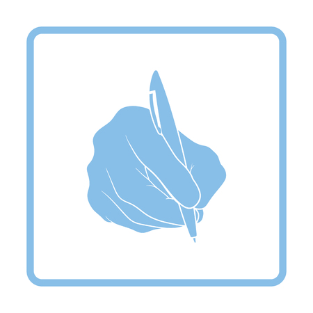 Hand with pen icon. Blue frame design. Vector illustration.