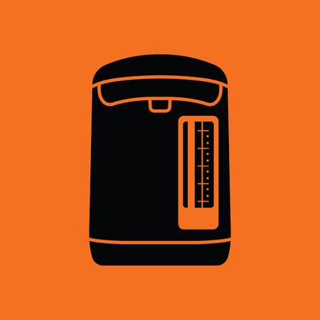 food preparation: Kitchen electric kettle icon. Orange background with black. Vector illustration.