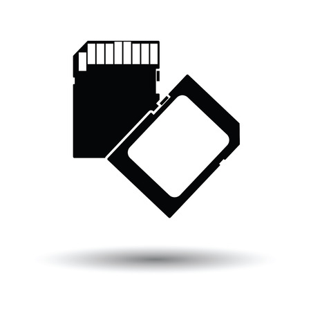 sd: Memory card icon. Black background with white. Vector illustration.