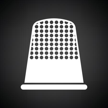 hem: Tailor thimble icon. Black background with white. Vector illustration. Illustration