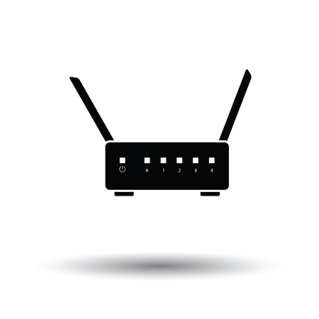 Wifi router icon. Black background with white. Vector illustration.