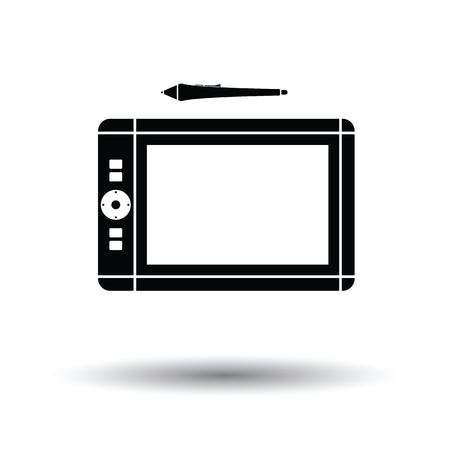digitizer: Graphic tablet icon. Black background with white. Vector illustration.