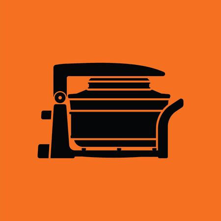 hotter: Electric convection oven icon. Orange background with black. Vector illustration.