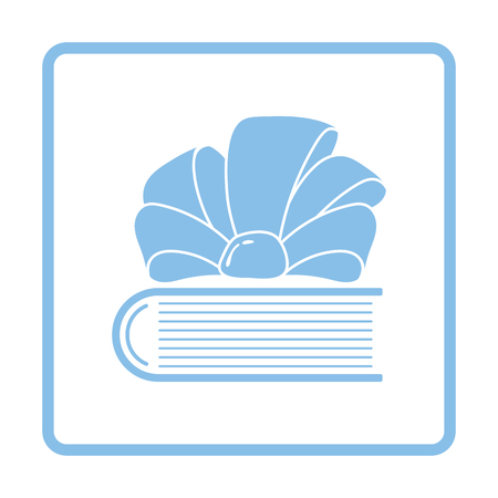 blue book: Book with ribbon bow icon. Blue frame design. Vector illustration. Illustration