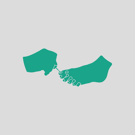 pedicure: Pedicure icon. Gray background with green. Vector illustration. Illustration