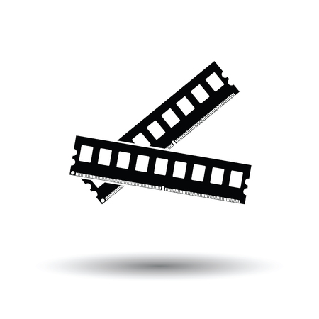 Computer memory icon. Black background with white. Vector illustration. Illustration