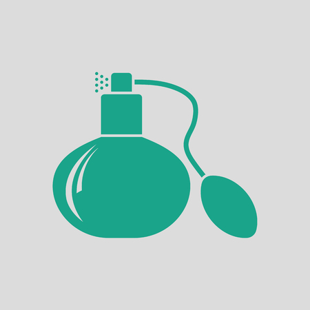 Cologne spray icon. Gray background with green. Vector illustration. Çizim