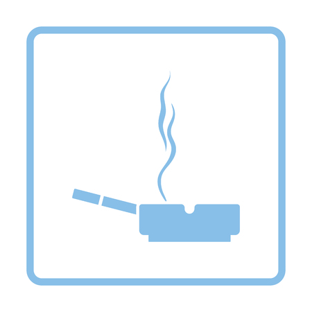 carcinogen: Cigarette in an ashtray icon. Blue frame design. Vector illustration.