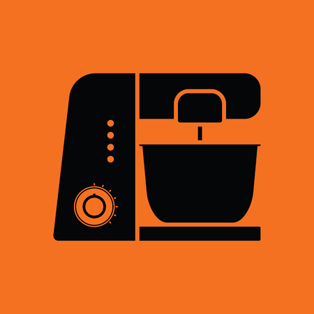 processor: Kitchen food processor icon. Orange background with black. Vector illustration.