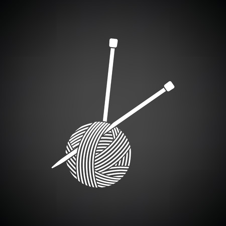 Yarn ball with knitting needles icon. Black background with white. Vector illustration. Illustration