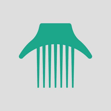 grey hair: Comb icon. Gray background with green. Vector illustration.