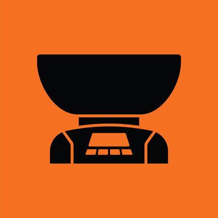 freestanding: Kitchen electric scales icon. Orange background with black. Vector illustration. Illustration