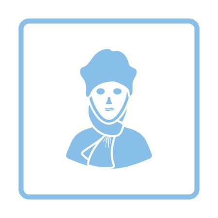 poet: Poet icon. Blue frame design. Vector illustration. Illustration
