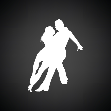 Dancing pair icon. Black background with white. Vector illustration.
