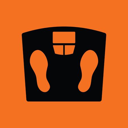 salud y deporte: Floor scales icon. Orange background with black. Vector illustration.