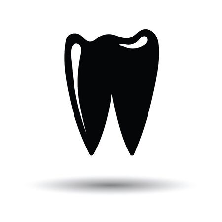 Tooth icon. White background with shadow design. Vector illustration.