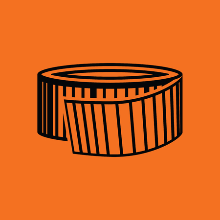 Measure tape icon. Orange background with black. Vector illustration.
