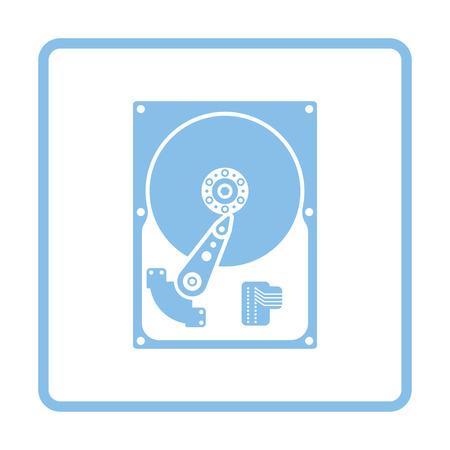 HDD icon. Blue frame design. Vector illustration.