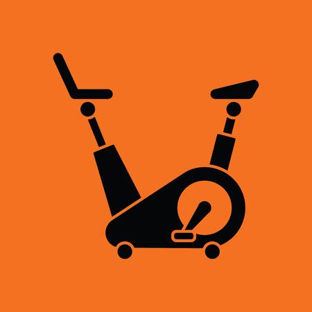 Exercise bicycle icon. Orange background with black. Vector illustration.
