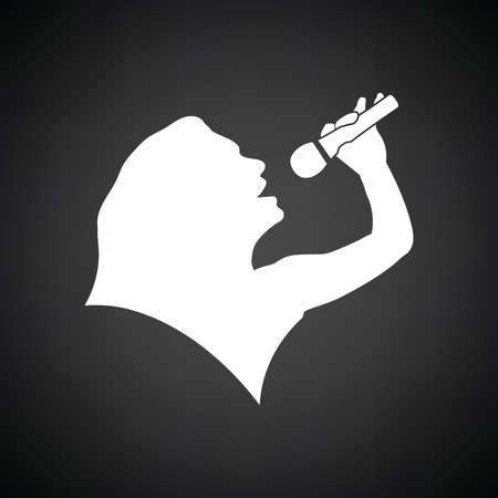 night dress: Karaoke womans silhouette icon. Black background with white. Vector illustration.