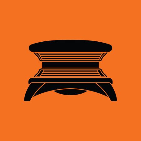 Icono de solarium. Fondo naranja con negro. Ilustración del vector.