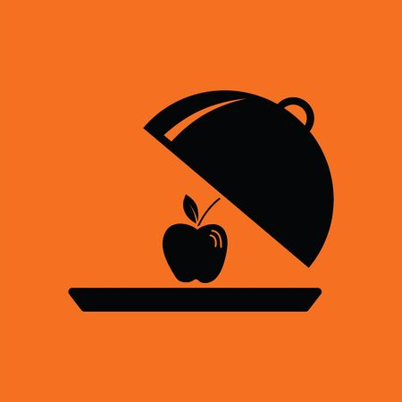 Apple inside cloche icon. Orange background with black. Vector illustration.