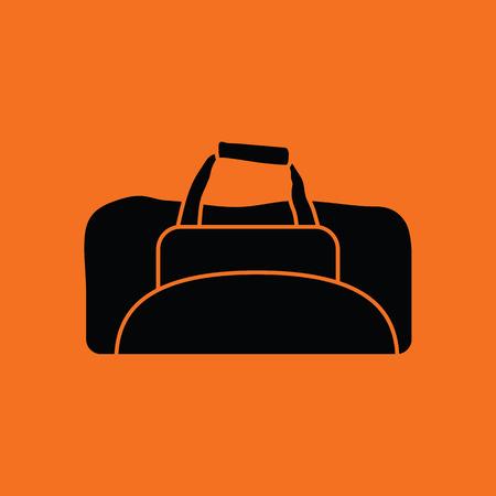 a bag: Fitness bag icon. Orange background with black. Vector illustration.