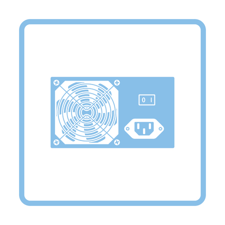 psu: Power unit icon. Blue frame design. Vector illustration.