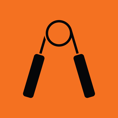 hand gripper: Hands expander icon. Orange background with black. Vector illustration.