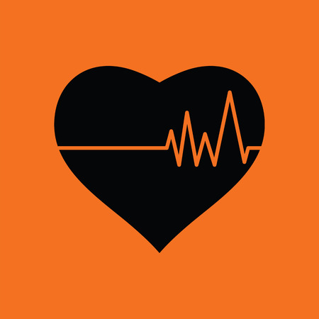pulse: Heart with cardio diagram icon. Orange background with black. Vector illustration.