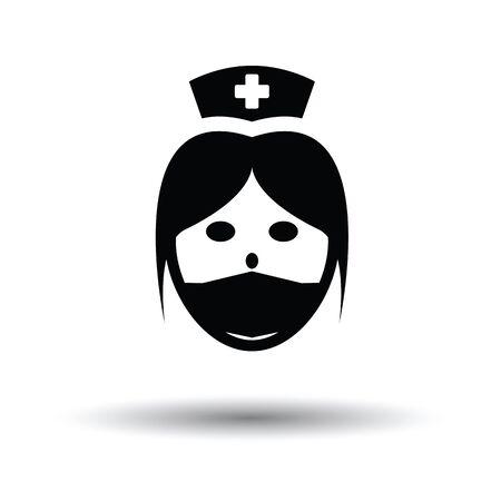 Nurse head icon. White background with shadow design. Vector illustration. Illustration