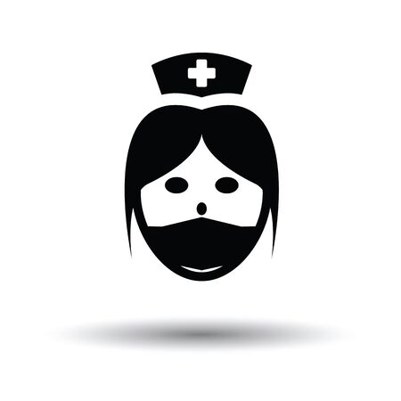 Nurse head icon. White background with shadow design. Vector illustration. Illustration