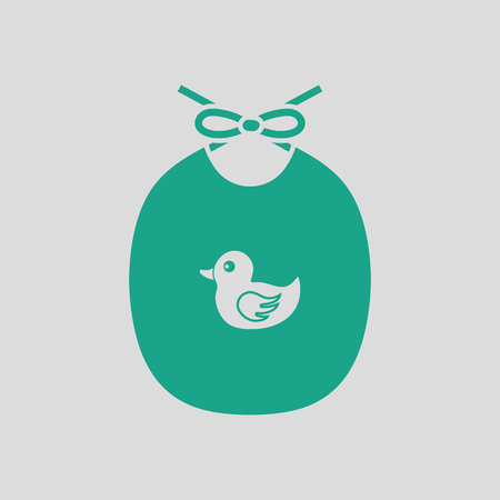 Bib icon. Gray background with green. Vector illustration.