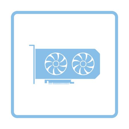 GPU icon. Blue frame design. Vector illustration.