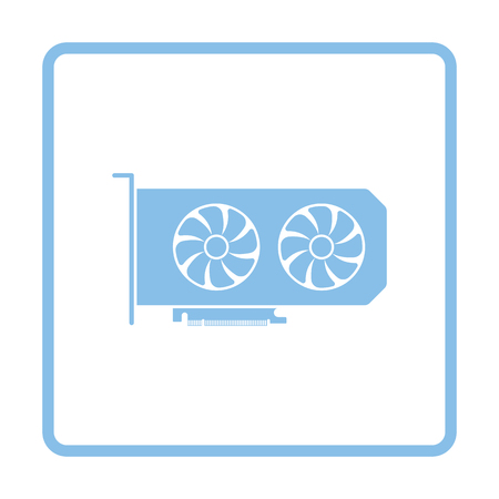expansion card: GPU icon. Blue frame design. Vector illustration.