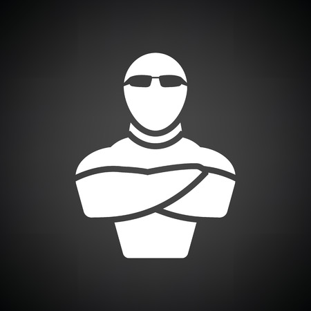 muscular control: Night club security icon. Black background with white. Vector illustration.