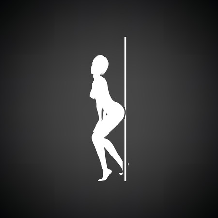 strip dance: Stripper night club icon. Black background with white. Vector illustration.